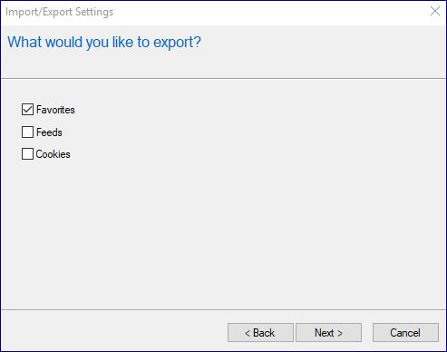 Bookmarks in Internet Explorer - backup and restore