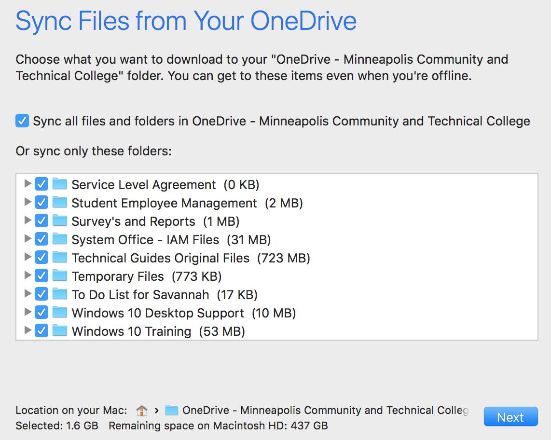OneDrive Sync Client Setup - Mac